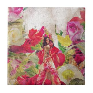 Dancer Flower Garden Watercolor Tile