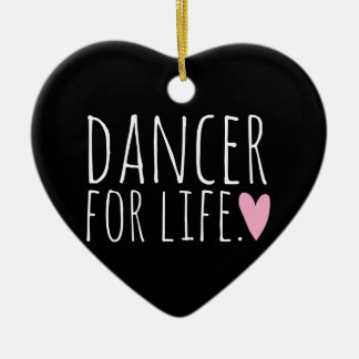 Dancer For Life Black with Heart Ceramic Ornament