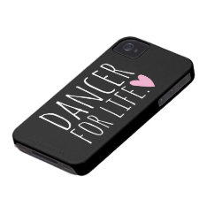 Dancer For Life Black With Heart Iphone 4 Cover at Zazzle