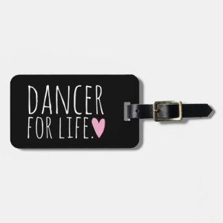 Dancer For Life Black with Heart Luggage Tag