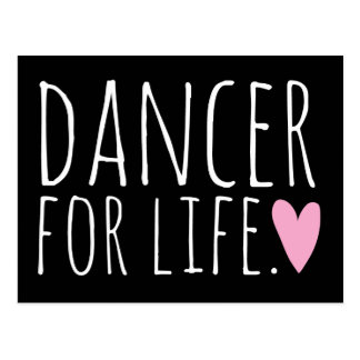 Dancer For Life Black with Heart Postcard