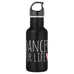 Dancer For Life Black with Heart Stainless Steel Water Bottle