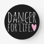 Dancer For Life Black with Heart Wall Clock
