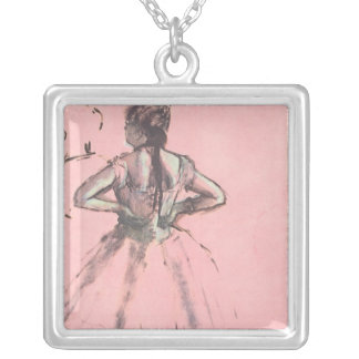 Dancer from the Back by Edgar Degas Vintage Ballet Silver Plated Necklace