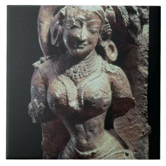 Dancer, from the Sun Temple of Kanara, Indian, 13t Ceramic Tile