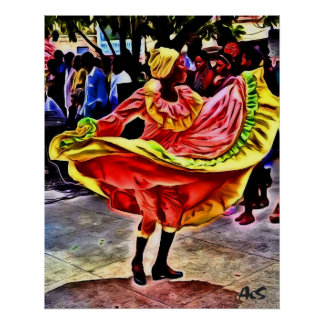 DANCER IN CUBAN SQUARE POSTER