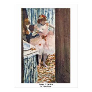 Dancer In Her Box By Edgar Degas Postcard