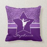 Dancer in Purple Cheetah Print with Monogram Throw Pillow