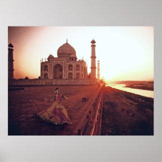 Dancer in Taj Mahal Courtyard Poster