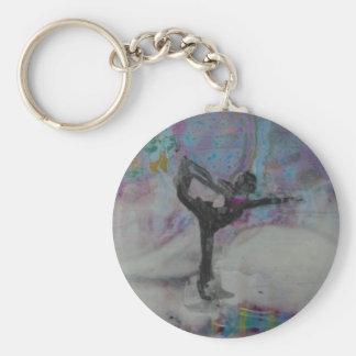 Dancer In The Snow Yoga Girl Key chain