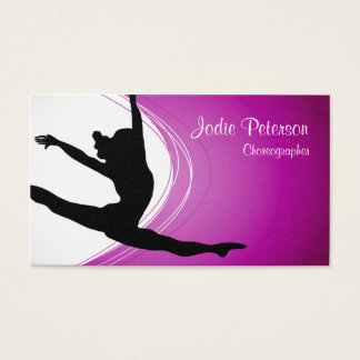 Dancer Jette Leap Silhouette Fuschia Business Card