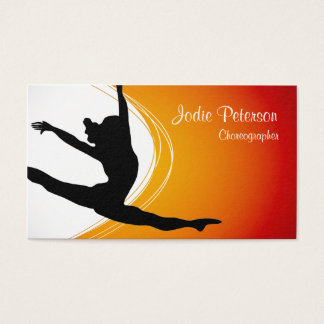 Dancer Jette Leap Silhouette Orange Business Card