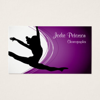Dancer Jette Leap Silhouette Purple Business Card