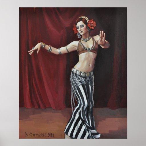 Dancer on dark red poster