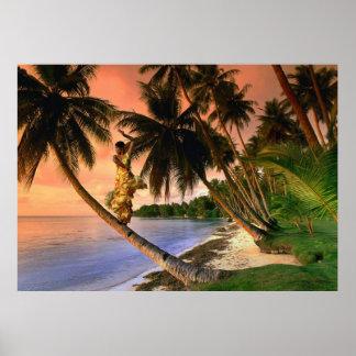 Dancer on Palm Tree Poster