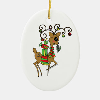 Dancer Double-Sided Oval Ceramic Christmas Ornament