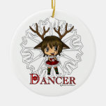 Dancer Double-Sided Ceramic Round Christmas Ornament