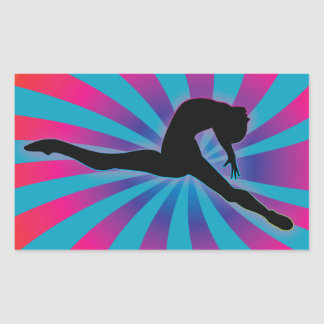 Dancer Radial Rainbow Rectangular Sticker