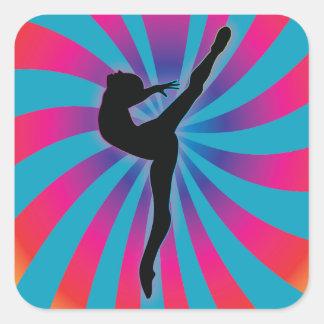 Dancer Radial Rainbow Square Sticker