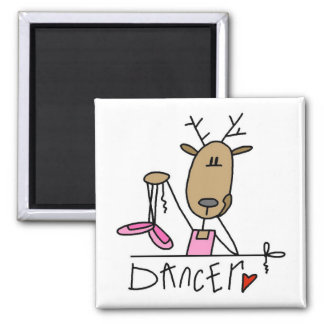 Dancer Reindeer T-shirts and Gifts 2 Inch Square Magnet