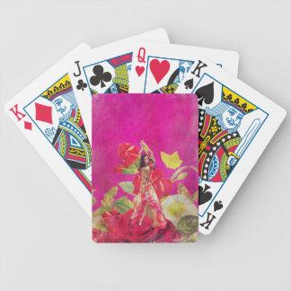 Dancer Rose Flowers Grunge Bicycle Playing Cards