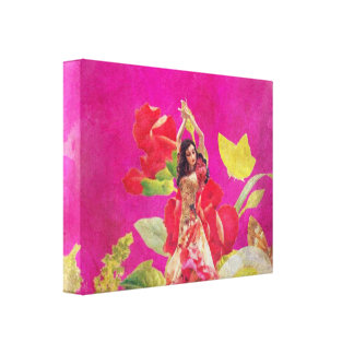 Dancer Rose Flowers Grunge Canvas Print