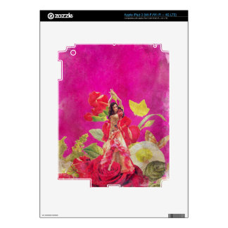 Dancer Rose Flowers Grunge Decal For iPad 3