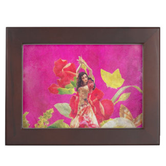 Dancer Rose Flowers Grunge Keepsake Box