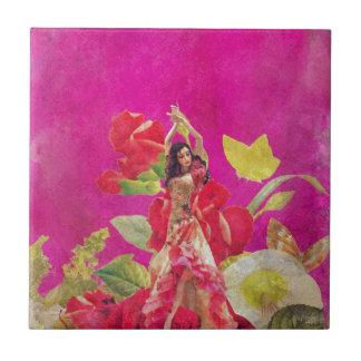 Dancer Rose Flowers Grunge Tile