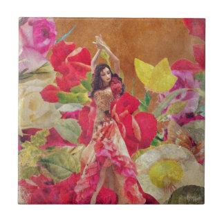 Dancer Rose Garden Brown Ceramic Tile