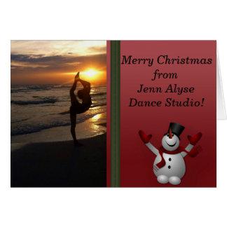 Dancer Silhouette Dance Studio Snowman Christmas Card