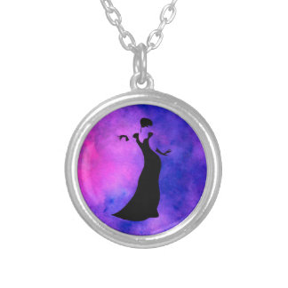 Dancer Silhouette Silver Plated Necklace