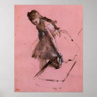 Dancer slipping on her shoe by Edgar Degas Poster
