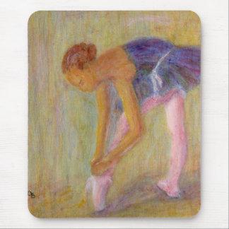 Dancer Tying Her Ballet Shoes, Mousepad