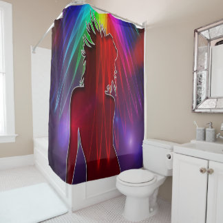 Dancer Under Showering Neon Rainbow Shower Curtain