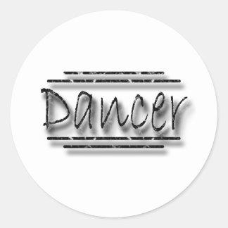 Dancer underlined black classic round sticker