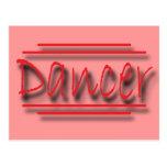 Dancer underlined  red postcard