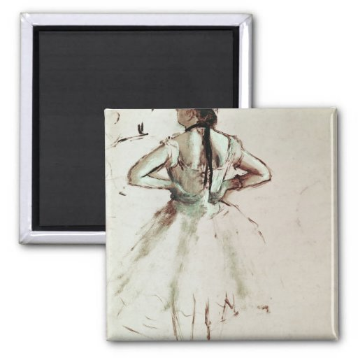 Dancer viewed from the back 2 inch square magnet