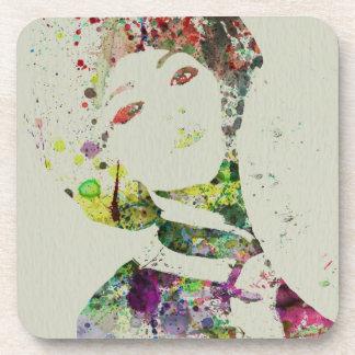 Dancer watercolor coaster