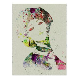 Dancer watercolor postcard