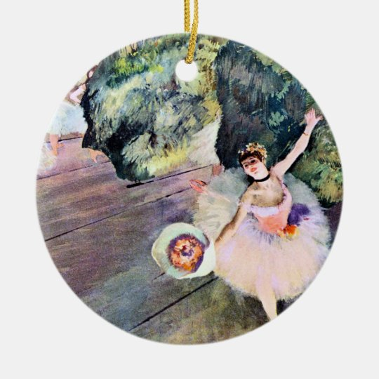 Dancer with a Bouquet of Flowers by Edgar Degas Ceramic Ornament