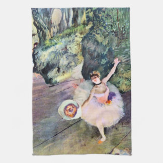 Dancer with a Bouquet of Flowers by Edgar Degas Kitchen Towel