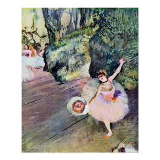 Dancer with a Bouquet of Flowers by Edgar Degas Poster