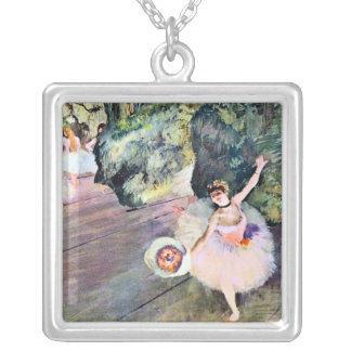Dancer with a Bouquet of Flowers by Edgar Degas Silver Plated Necklace