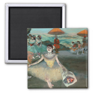 Dancer with bouquet, curtseying, 1877 2 inch square magnet