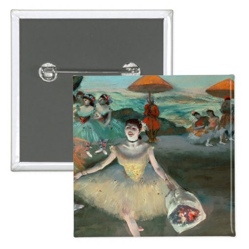 Dancer with bouquet, curtseying, 1877 pinback button