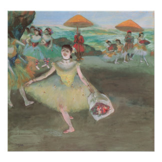 Dancer with Bouquet, Curtsying by Edgar Degas Poster