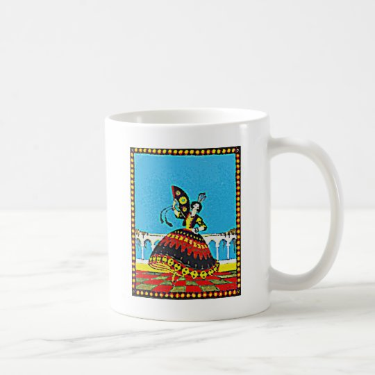 Dancer with Fan in Beautiful Dress. Awesome Colors Coffee Mug