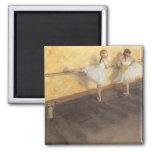 Dancers at the Bar by Edgar Degas, Vintage Ballet 2 Inch Square Magnet