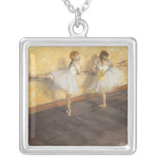 Dancers at the Bar by Edgar Degas, Vintage Ballet Silver Plated Necklace